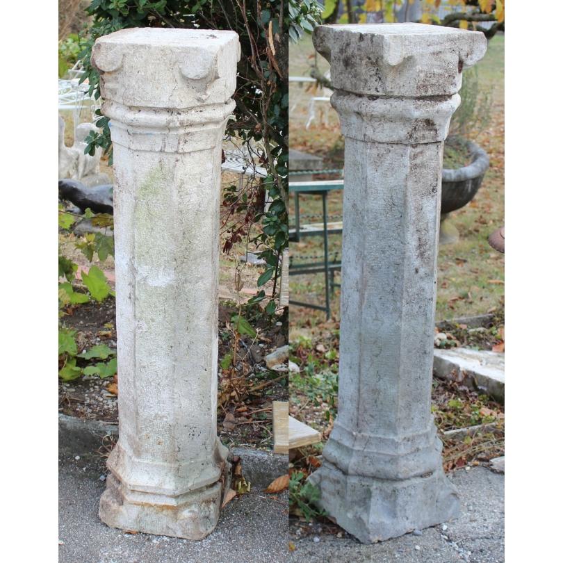 Paire de pilliers octogonaux en pierre du Jura
