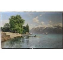 """Tableau """"Vue du Lac Léman"""" sginé A. PRÖTEL 97"""