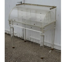 Bureau cylindre style Louis XVI en plexiglas