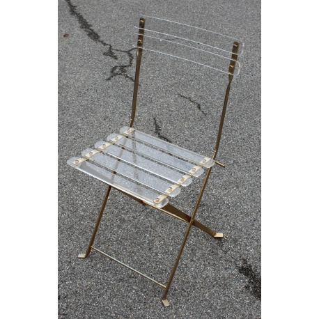 Nouveau Chaise Pliante En Plexiglas Et Laiton