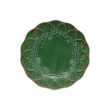 Assiette en faïence verte chasse 28 cm