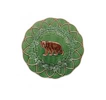 Assiette en faïence verte chasse Ours