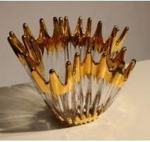 Vase en verre à pointes dorées