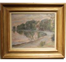 """Tableau """"Bord de lac à Rolle"""" signé L. FATIO 44"""