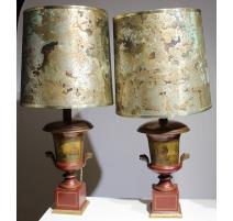 Paire de lampes en tôle peinte décors Marines