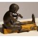 """Paire de serre-livres en bronze """"Faunes"""""""