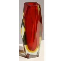 Vase soliflore en verre rouge et jaune de Murano
