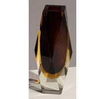 Vase soliflore en verre brun et jaune de Murano