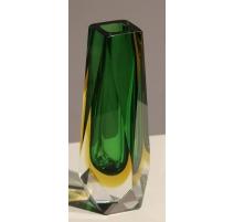 Vase soliflore en verre vert et jaune de Murano