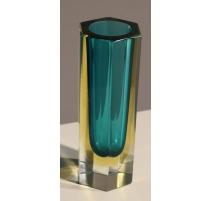 Vase soliflore en verre bleu et jaune de Murano