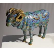 Mouflon en bronze cloisonné