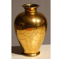 Vase balustre en verre de Saint-Prex doré