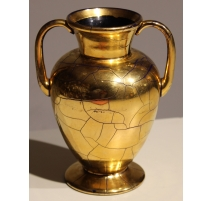 Vase à anses en verre de Saint-Prex doré