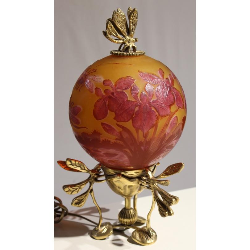 """Lampe boule style GALLÉ """"Libellules"""" rouge"""