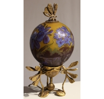 """Lampe boule style GALLÉ """"Libellules"""" bleu"""