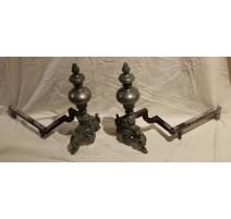 Paire de chenets style Régence en bronze