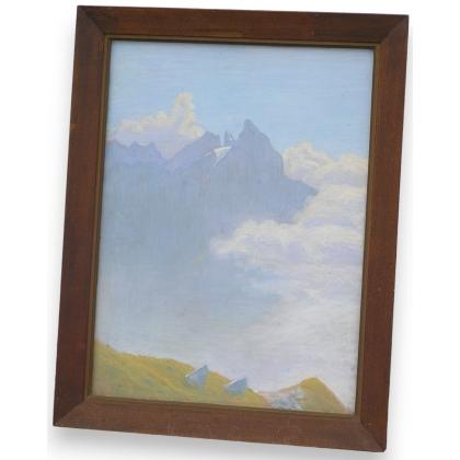 """Pastel """"Montagne"""", monogrammé."""