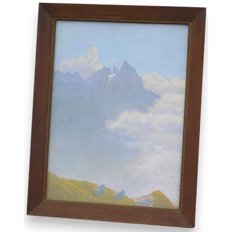 Pastel  Montagne , monogrammé.