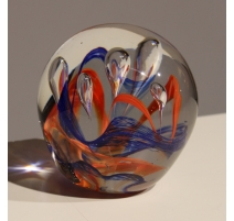 Sulfure en verre de Murano orange et bleu