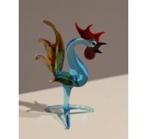 Coq dressé en verre de Murano bleu