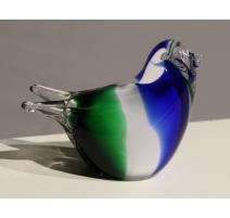 Moineau en verre de Murano bleu et vert
