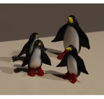 Famille de pingouins en verre de Murano