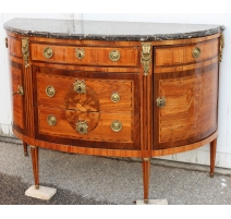 Commode demi-lune Louis XVI Estampillée GRIFFET