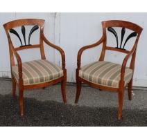 Lot de trois fauteuils Directoire dossier palmette