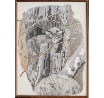 "Lithographie ""Chat sauvage"" signée C. STERN 91"