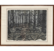 """Lithographie """"Sangliers"""" signée C. STERN 92"""