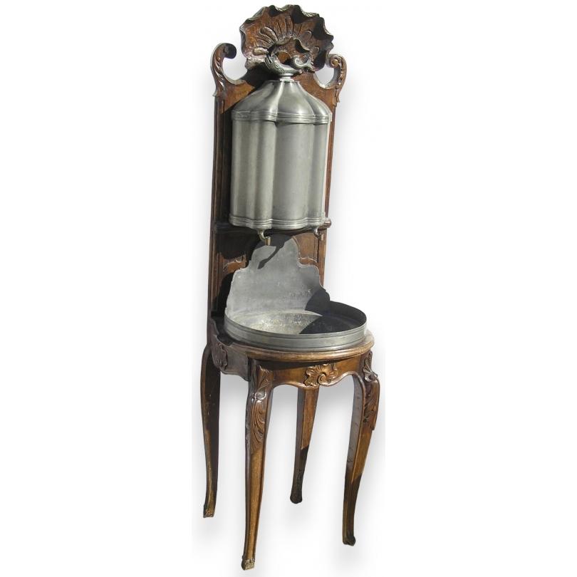Grand pot à lait ancien en cuivre peint
