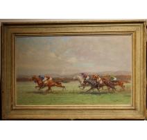 """Tableau """"Course de chevaux"""" signé Eug. PÉCHAUBÈS"""