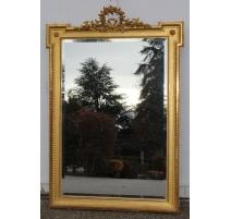 Miroir Napoléon III avec fronton couronne de roses