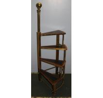 Escalier tournant en laiton, bois et cuir noir