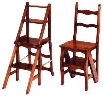 Chaise-escabeau en merisier