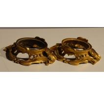 Paire de socles en bronze doré