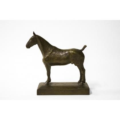 Bronze Cheval à l'arrêt, patine brune