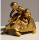 Bronze Enfants jouant sur une tortue signé BARRIAS