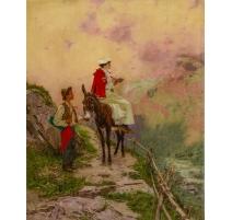 """Tableau """"Sur un chemin de montagne"""" signé MENTA"""