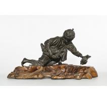 """Bronze """"Jeune enfant et cailles"""" signé dessous"""
