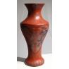 Vase chinois en bois laqué rouge décor dragons