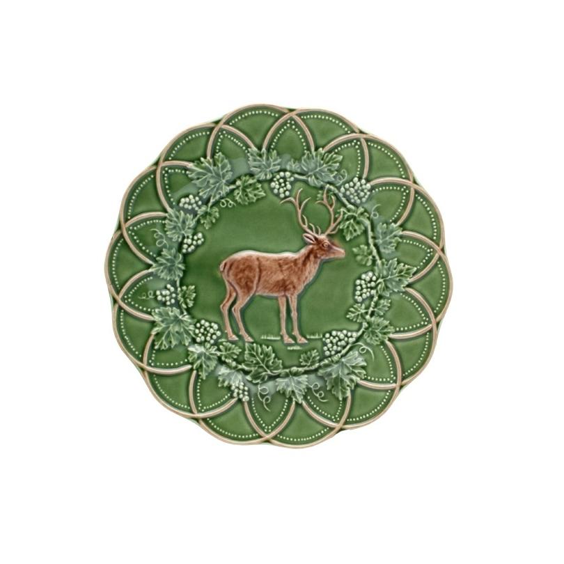 Assiette en faïence verte chasse Cerf