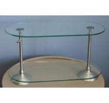Petite étagère ovale en verre et métal