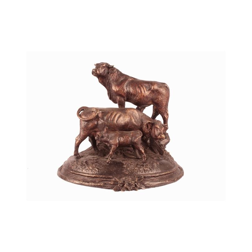 """Bronze """"Vache taureau et veau"""""""