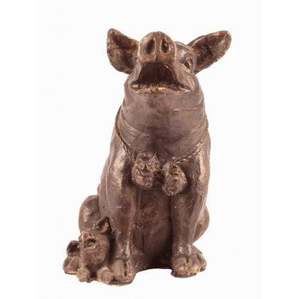 Bronze Cochon assis avec son petit