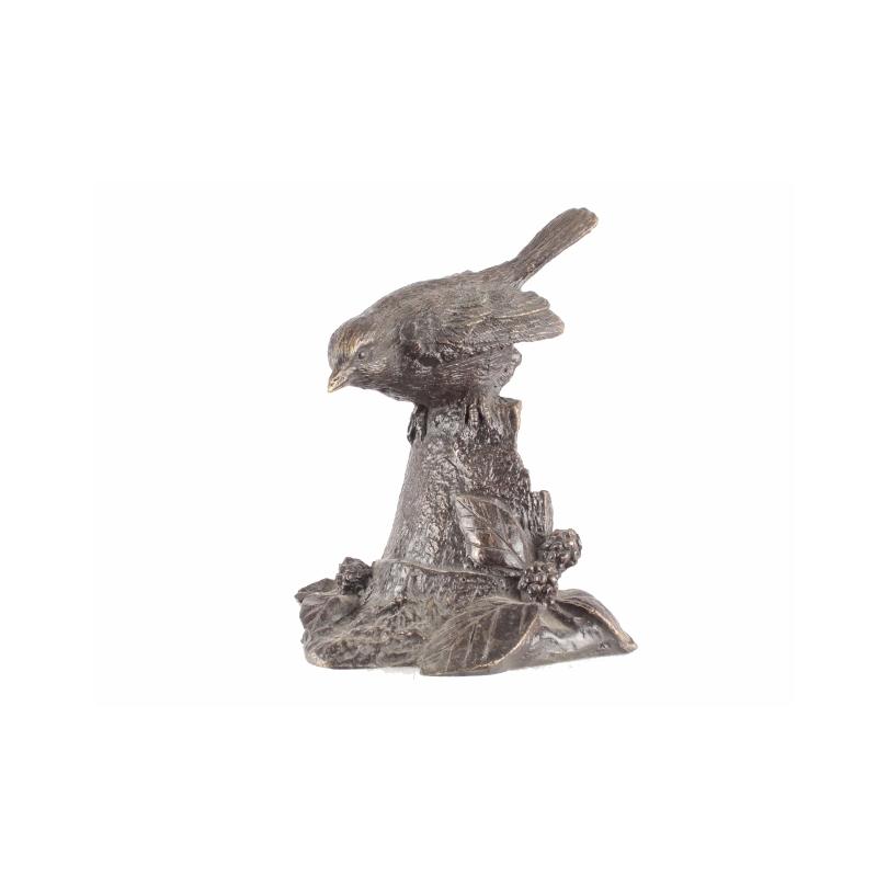 Moineau sur une souche en bronze
