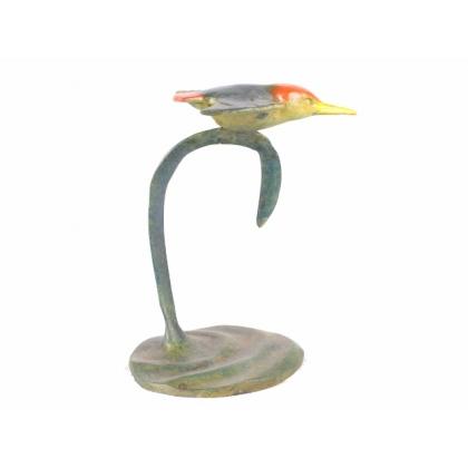Martin-pêcheur en vol en bronze polychrome