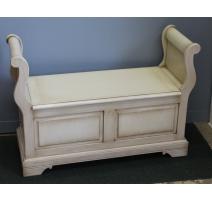 Banc-coffre style Louis-Philippe laqué blanc