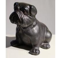 Bouledogue anglais en céramique vernissée noir