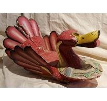 Canard en bois sculpté laqué rouge